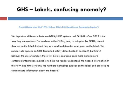 how many sections are on a 2012 hcs compliant sds ppt globally harmonized system s ghs classification