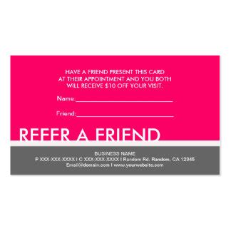 referral card template set 5 bright pink gray simple refer a friend cards business card