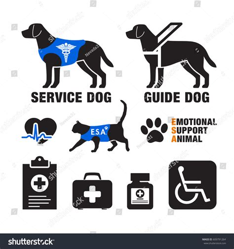Dogs And Blindness Service Dogs Emotional Support Animals Emblems Stock
