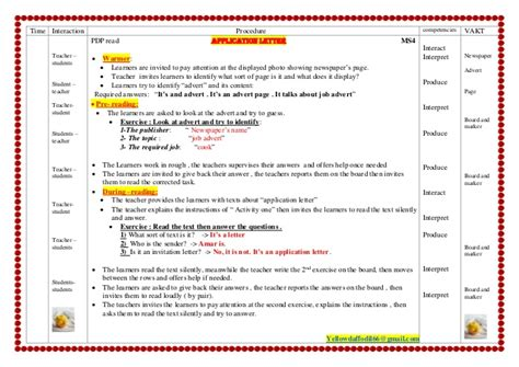 Application Letter Lesson ms4 application letter new lesson