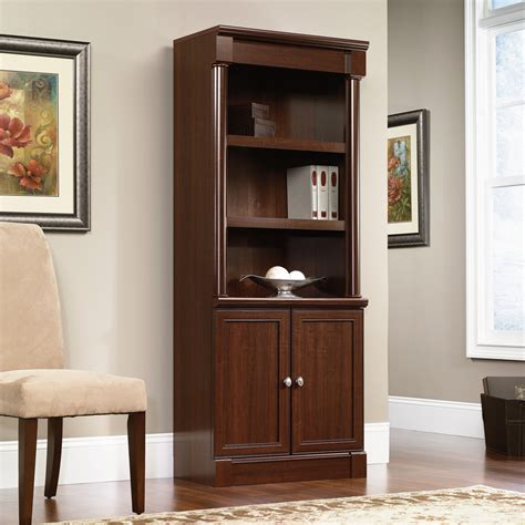 sauder palladia library bookcase with doors 412019