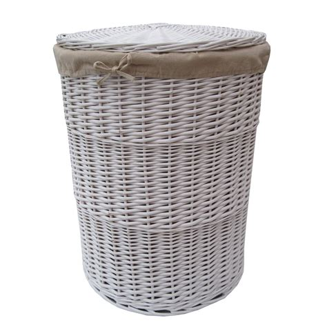 laundry basket white round wicker laundry basket
