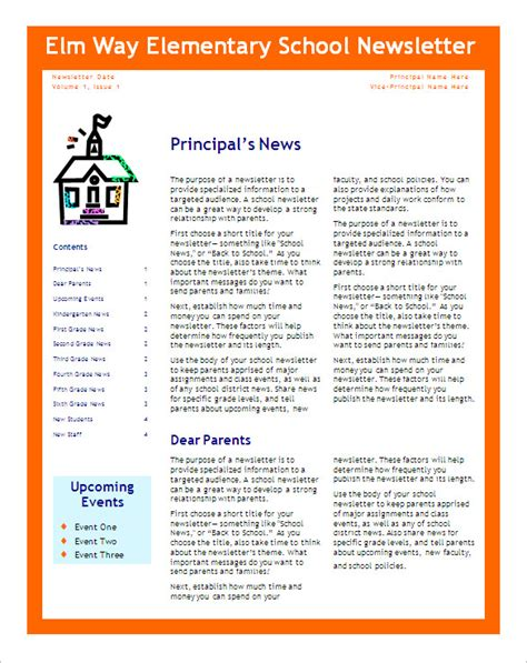 Free School Newsletter Templates Cover Letter Templates Free Elementary Newsletter Templates