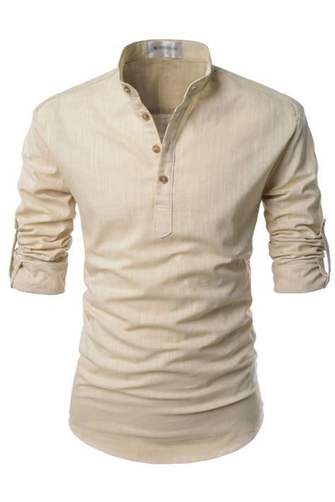 Sleeves Linen Shirt mens beige henley mandarin collar roll up sleeved