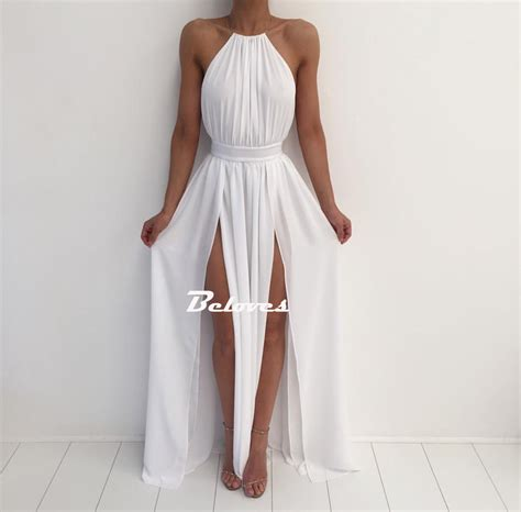 Halter Backless Dress white halter chiffon backless maxi prom dress with high