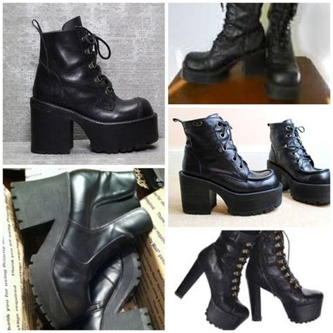 Shoes: chunky heels, chunky boots, combat boots, black