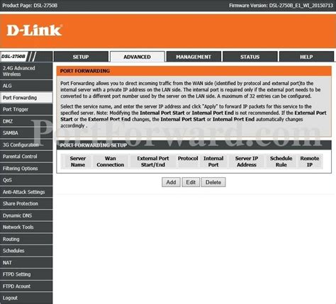 dlink dsl 2750b port forwarding router screenshot