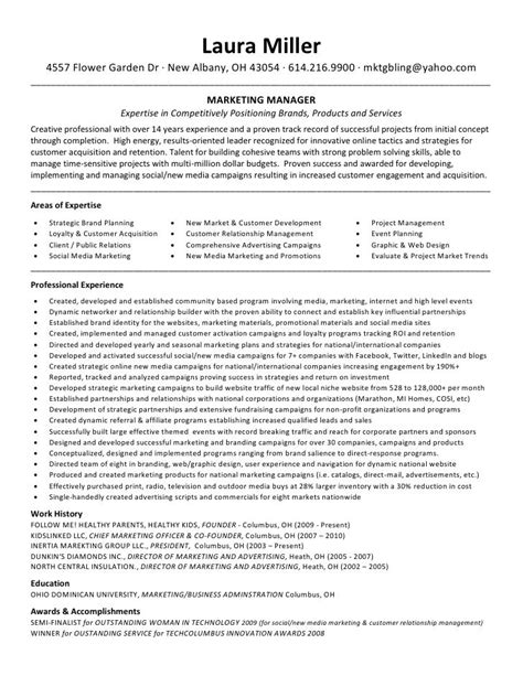 cv template for marketing resumes profile marketing project manager resume and