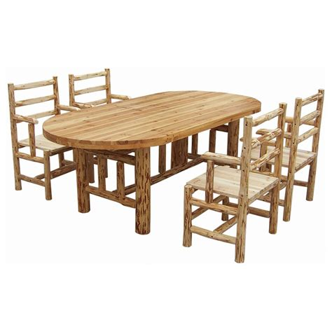 Rush Creek Log Dining Table With Four Chairs 140361 Log Dining Table And Chairs