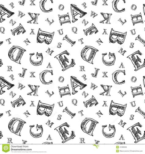 black and white pattern letter sketch alphabet seamless pattern stock vector image