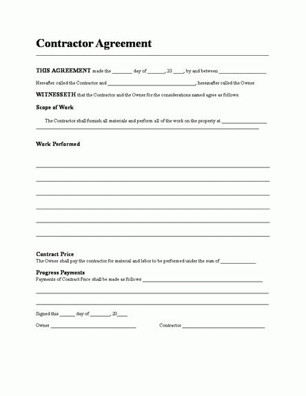 pretty contractor contract template images gt gt construction