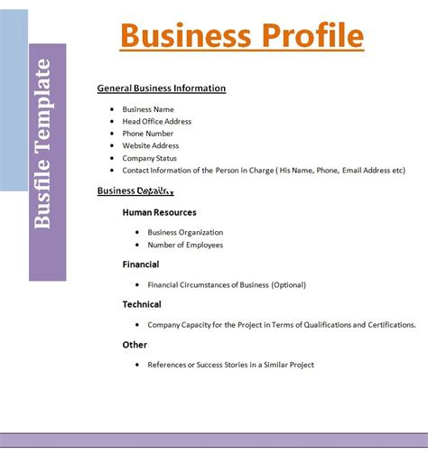 Templates For Business 2 business profile templatefree word templates