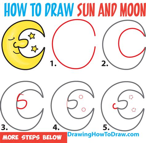 easy kids drawing lessons how to draw a cartoon house how to draw a cartoon moon and stars easy step by step