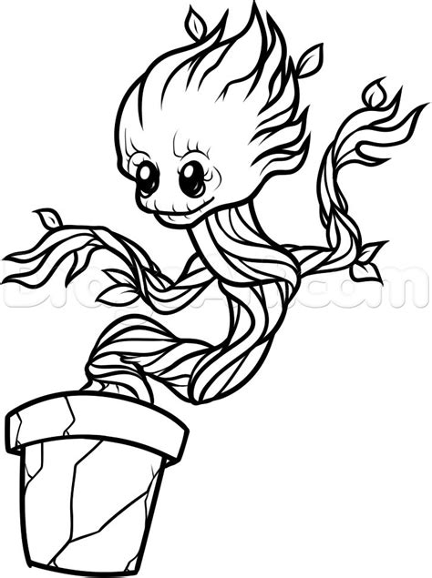 coloring page baby groot how to draw baby groot step 9 svg files pinterest