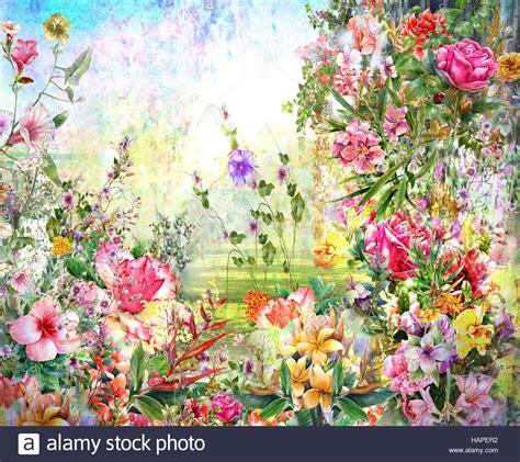 fiori astratti pittura fiori astratti pittura ad acquerello molla di fiori