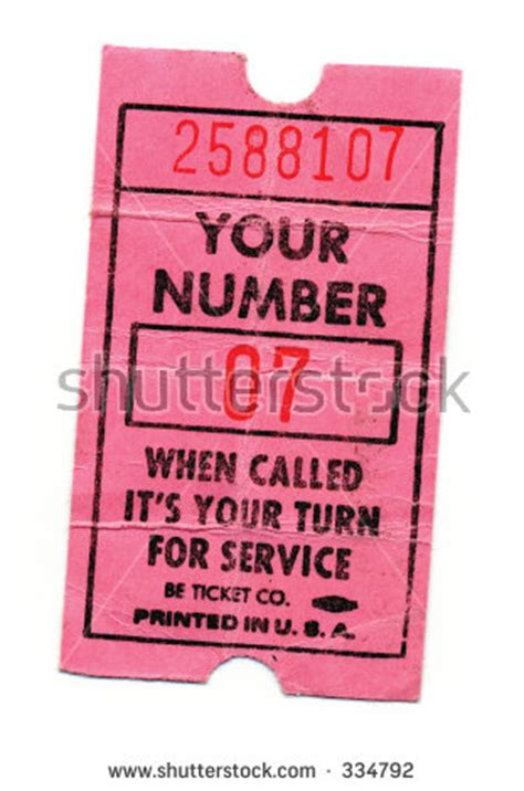 Ticket Number Search Paper Ticket Pink Number Now Serving Service Next Waiting Number Is Up Stock