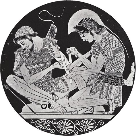 English Vase File Patroclus Injured By An Arrow Bandaged By Achilles