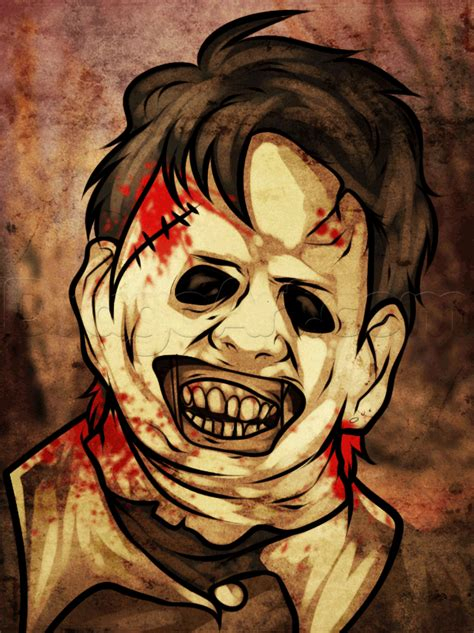 how to draw leatherface easy step by step characters