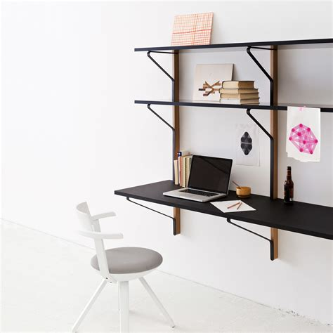 schreibtisch wand kaari wall shelf with desk by artek