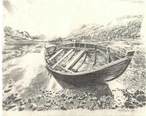 how to draw a boat on shore simple boat pencil drawing www imgkid the image