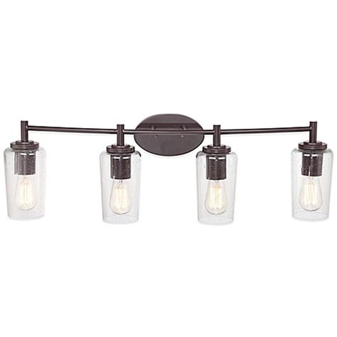 Buy Quoizel Edison 4 Light Wall Mount Bath Fixture With Bathroom Light Fixture Shades