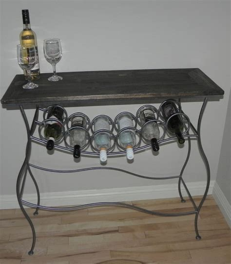 Wine Rack End Table by Iron Wine Rack Console Table With Distressed Wood Top