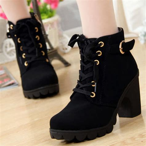 high top heel lace up buckle ankle boots winter