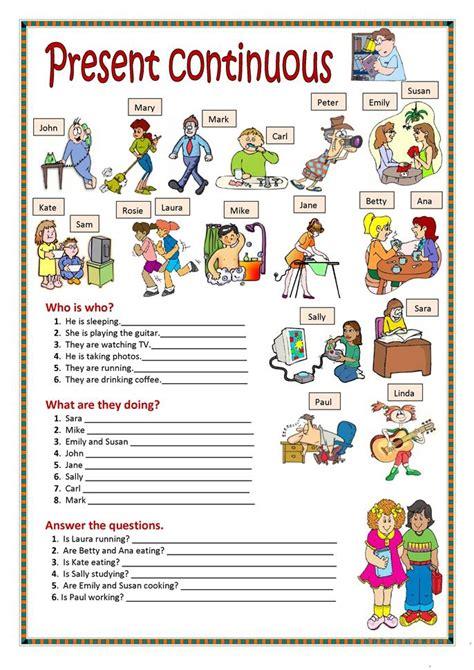 Present Progressive Worksheet by Present Continuous Worksheet Free Esl Printable