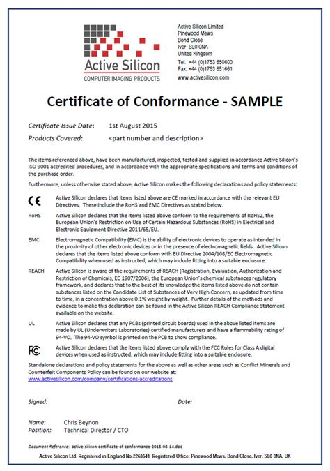 certificate of conformance template active silicon certifications