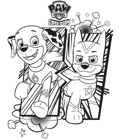 paw patrol mer pup coloring page paw patrol super pups chase and marshall colouring page