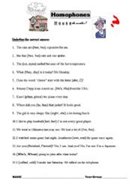 Printable Homophone Quiz | english worksheet homophones quiz