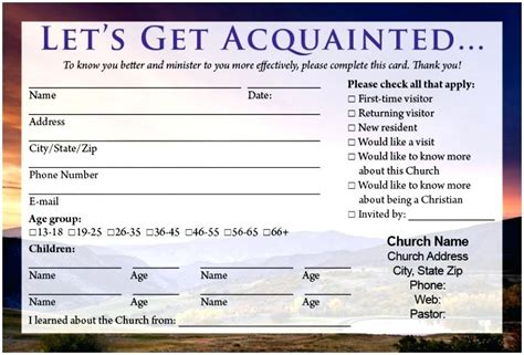 Church Visitor Card Template Downloads by Church Visitors Card Template Visitor Cards A Mountain