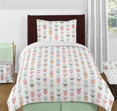 mint twin bedding grey coral and mint woodland arrow 4pc twin bedding set