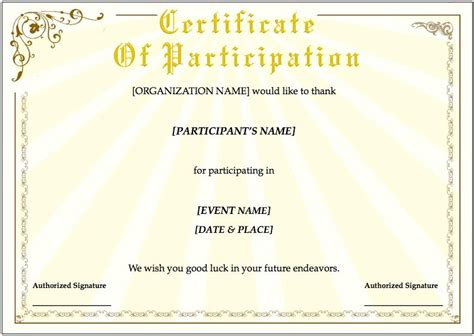 certificate templates for certificate template for pages free iwork templates