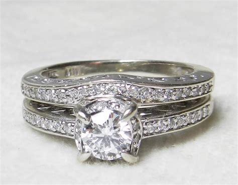deco wedding ring set deco wedding ring set engagement ring matching wedding band 0 45 cttw 14k white gold