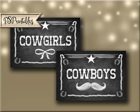 western themed bathroom or dressing room signs cowboy