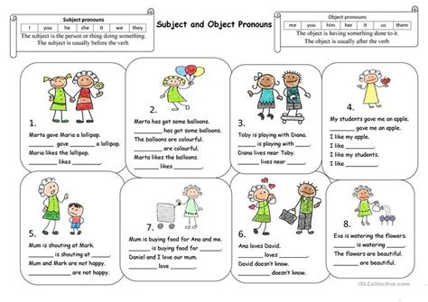 Subject And Object Pronouns Worksheets by Subject And Object Pronouns Worksheet Free Esl Printable