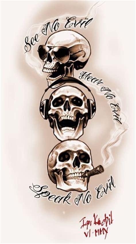 hear no evil skull tattoo designs no evil skulls design best designs