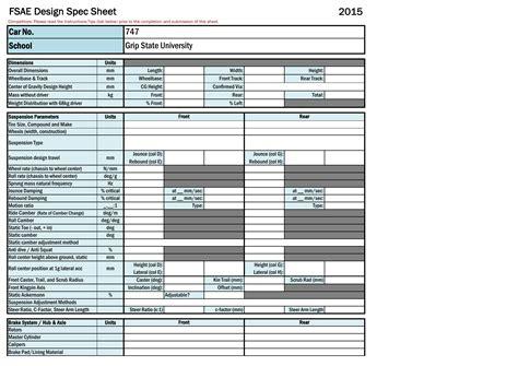design specification form 2015 design specification sheet