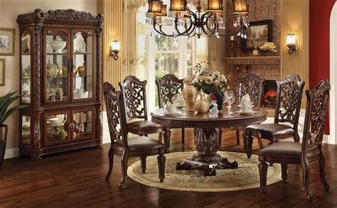 acme dining room sets acme vendome 7pc single pedestal round dining room set in