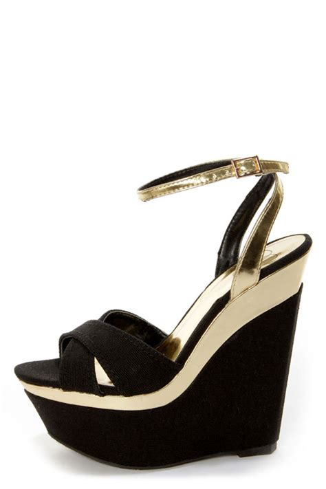 my delicious angeni black cotton and gold platform wedge