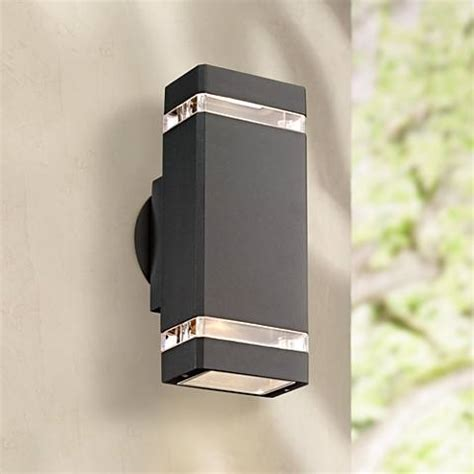 possini outdoor wall light possini rectangular graphite up outdoor wall