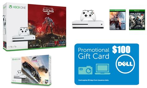 100 Xbox One Gift Card - xbox one console deals 100 dell gift card back 1tb microsoft xbox one s halo wars