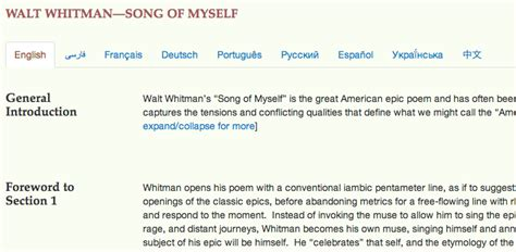 song of myself section 52 walt whitman i sing of myself in nine languages global