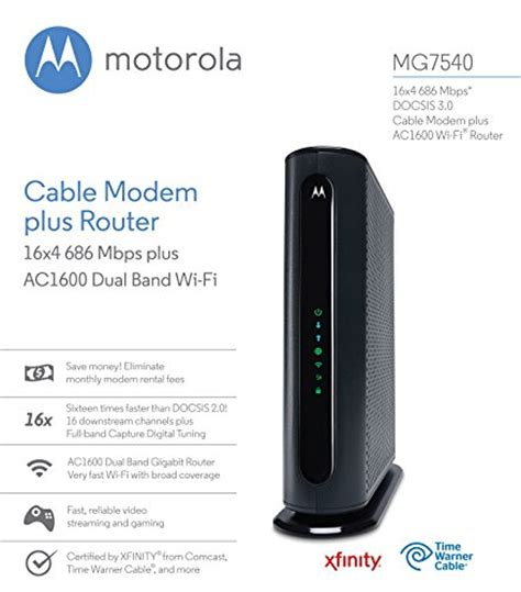 Modem Speedy Plus Wifi motorola mg7540 16x4 cable modem plus ac1600 dual band wi fi gigabit router 686 mbps docsis 3 0