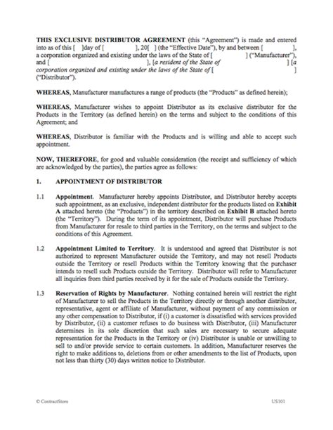 Exclusive Distributor Agreement Exclusivity Agreement Template