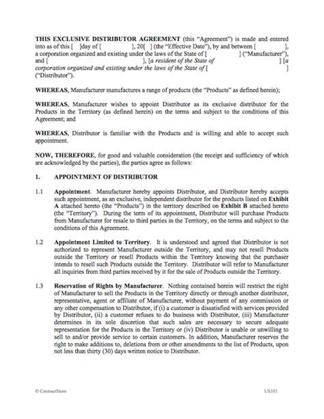 Exclusive Distributor Agreement Sle Distributor Agreement Template