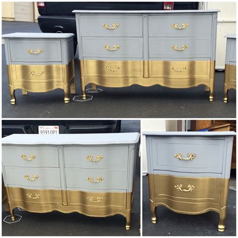 grey and gold desk six french provincial dresser nightstands
