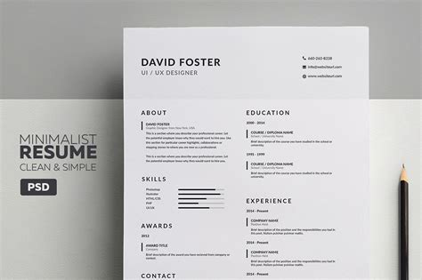 minimalist resume cv david resume templates creative