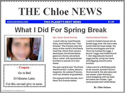 How To Make A News Paper Article - classroom newspaper template blue k 5 computer lab